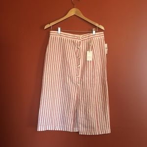Forever 21 candy stripe linen button midi skirt L
